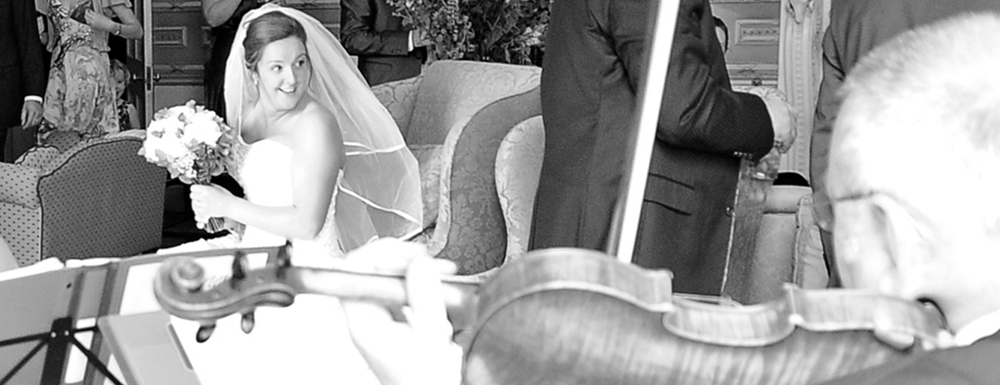 Professional musicians for hire, providing string quartet music for wedding ceremonies and corporate events